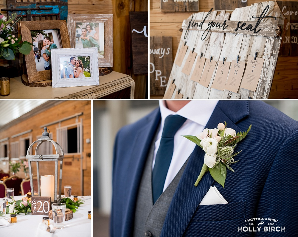 horse barn turned reception dinner for farm wedding