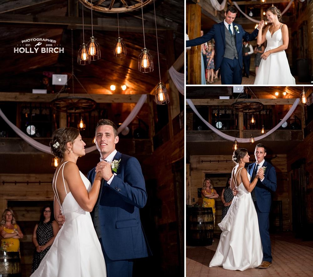 first dance photos in barn at Willow Creek Farm
