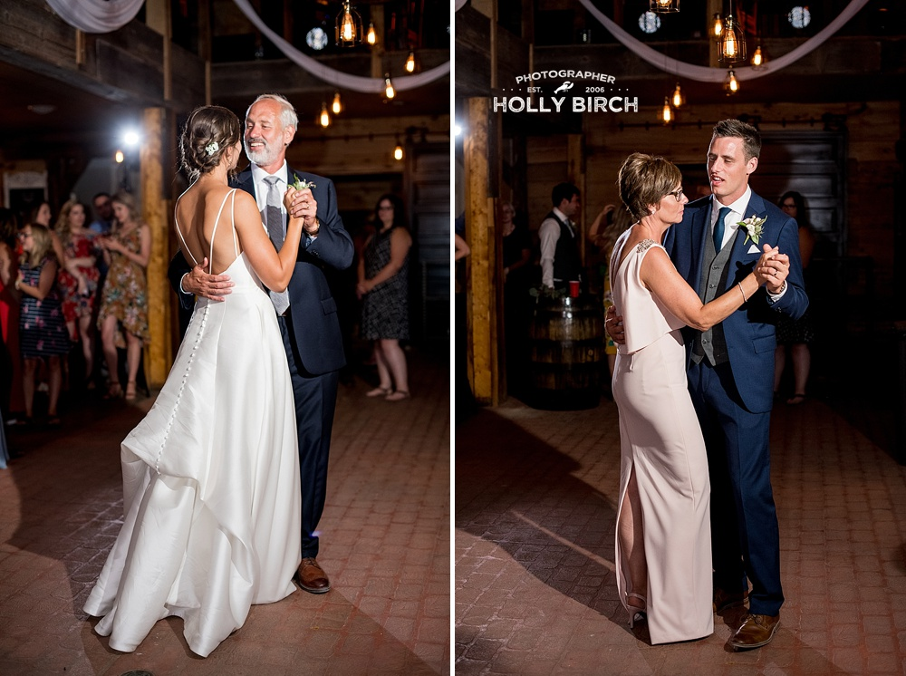 father-daughter and mother-son first dances at barn wedding