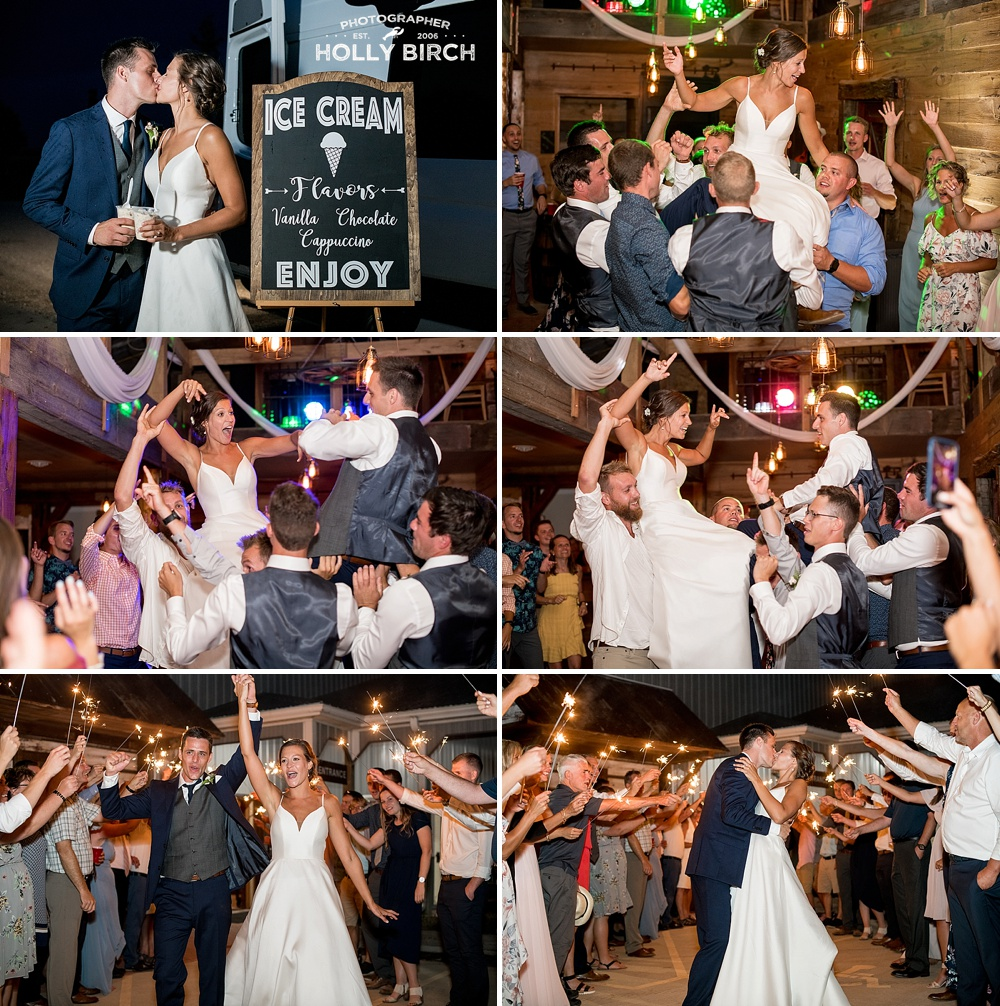guests hoist bride and groom up during final song of the night with Bugbee's DJ