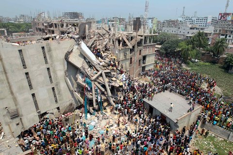 (c) http://tinyurl.com/jqh9ntc   Factory in Bangladesh that collapsed due to poor infrastructure. There is a hidden cost in fast fashion.