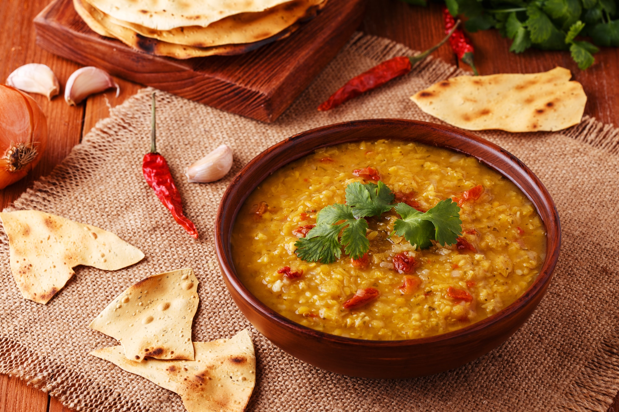 Ayurvedic Diet Lentil Soup with Paprika and Pita Bread.jpg