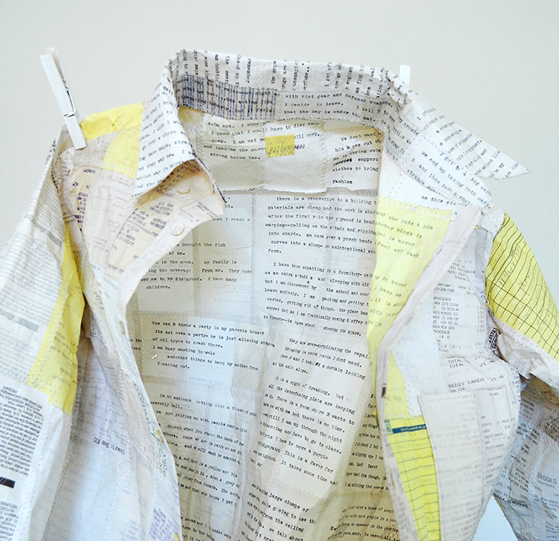 Garments are intricately sewn from saved receipts. Typed dreams from a personal journal impress on one side of the receipt paper so that after construction the diaristic text lines the interiors and the receipt data covers the exterior.