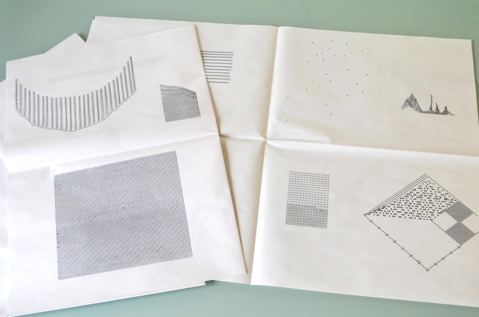alphabet . broad sheet, drawings typed on smith corona- coronet super 12, 2017