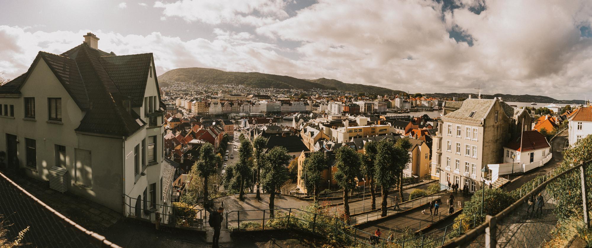 Vista panorámica de Bergen, Noruega.