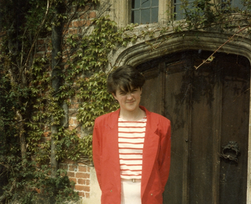 Caroline at the side door, Chawton House, 1984