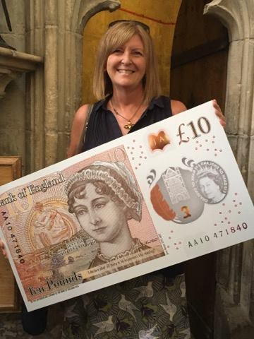 Author Cass Grafton at the unveiling of the new Bank of England ten pound note, held in Winchester on 18 July 2017. Image credit: Cass Grafton