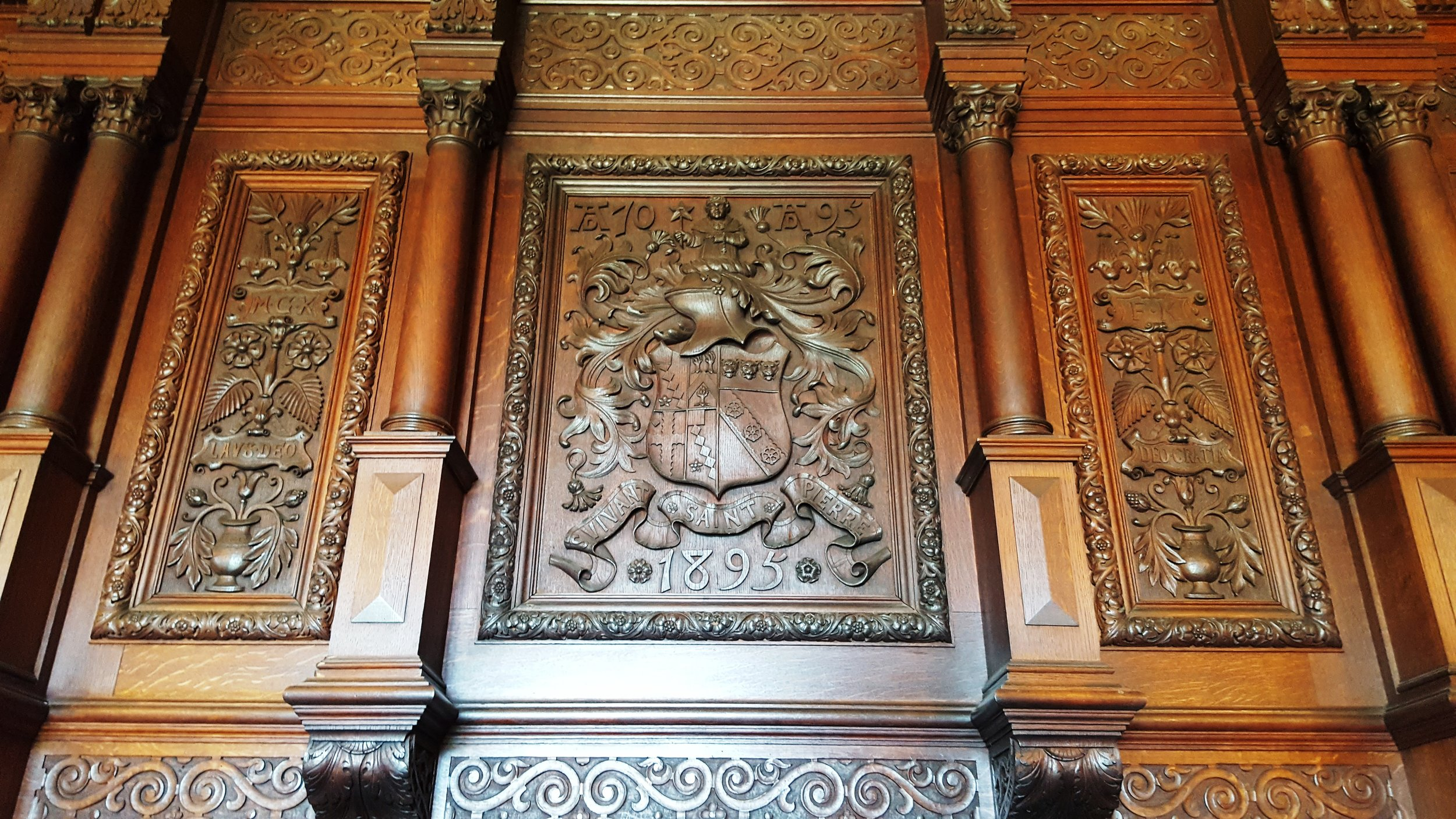 Carving above the fireplace in the dining room