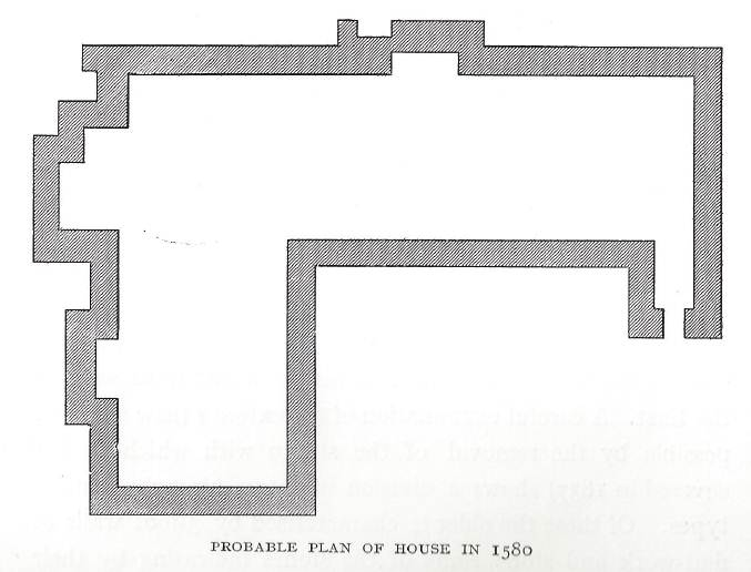 The probable plan of the original build from Chawton Manor and It's Owners - A Family History. You can see the entrance to Chawton House on the right, and the north wing on the left.