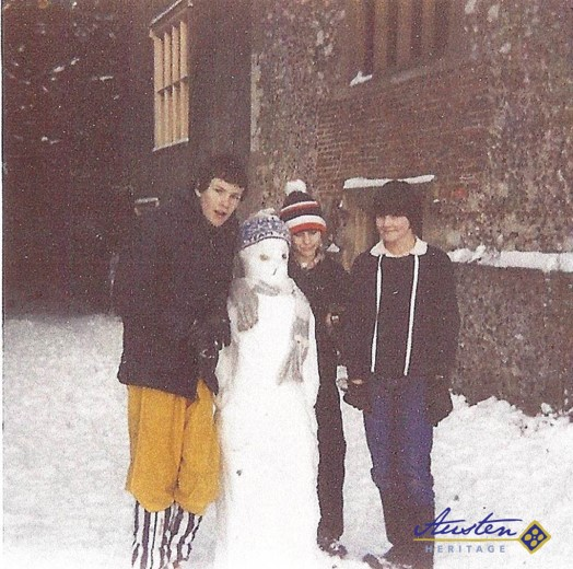My daughter Caroline (on the right), building a snowman with neighbours