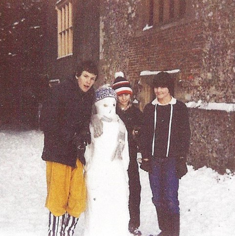 With neighbours Andrew and Jonathan building a snowman (that's me on the right)   Photo  © Caroline Jane Knight