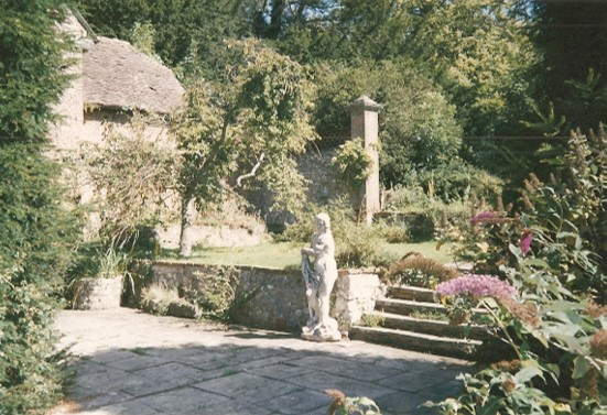 Eve in the library terrace at Chawton House, 1987.  Photo copyright Jeremy Knight