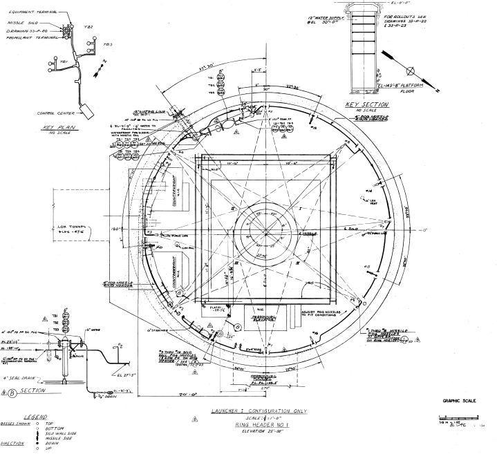 Plan of a Titan I ICBM silo, Vandenberg AFB, 1959. Daniel, Mann, Johnson, & Mendenhall.