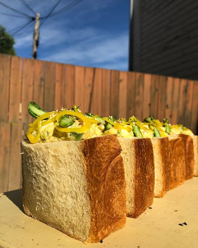 SUNDAY SPECIAL ALERT🚨 have an egg salad stuffed bread belly under the sun! Ask for the egg pocket. Limited quantity✌🏻 . . . #egg #bread #belly