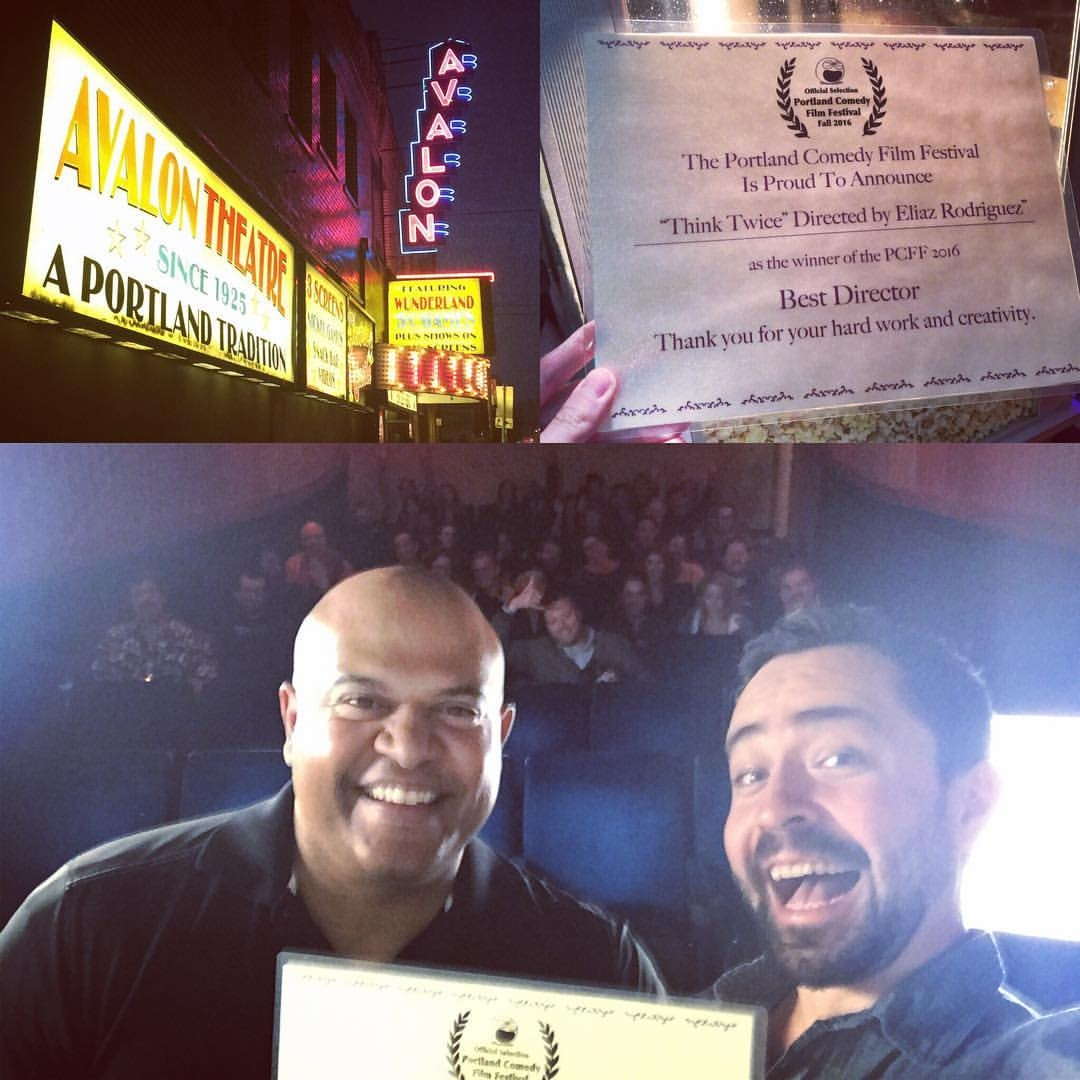 Best Director  - Portland Comedy Film Festival. Eliaz trying to keep his cool as he wins his first Best Director Award.
