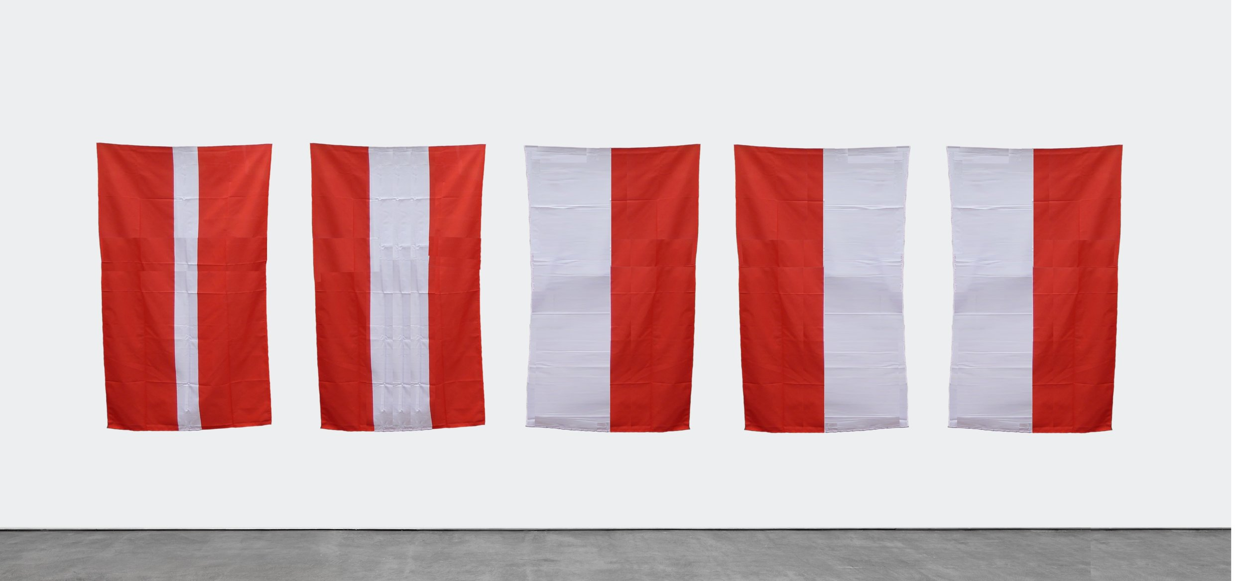 Latvia, Austria, Monaco, Poland, Indonesia 2018-2019 / From Problem with Nationalism / Hand Painted fabric flags / each 90 cm x 150 cm