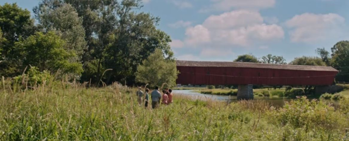 Kissing bridge was shot at the West Montrose Covered Bridge in West Montrose, Ontario.