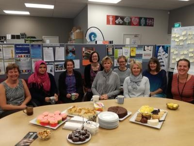 Janet Quigley was behind the camera for this photo of her admin staff having a celebratory morning tea.
