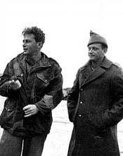 Yitzhak Rabin (L) and Yigal Allon (R) in 1949. Photo source: Wikipedia