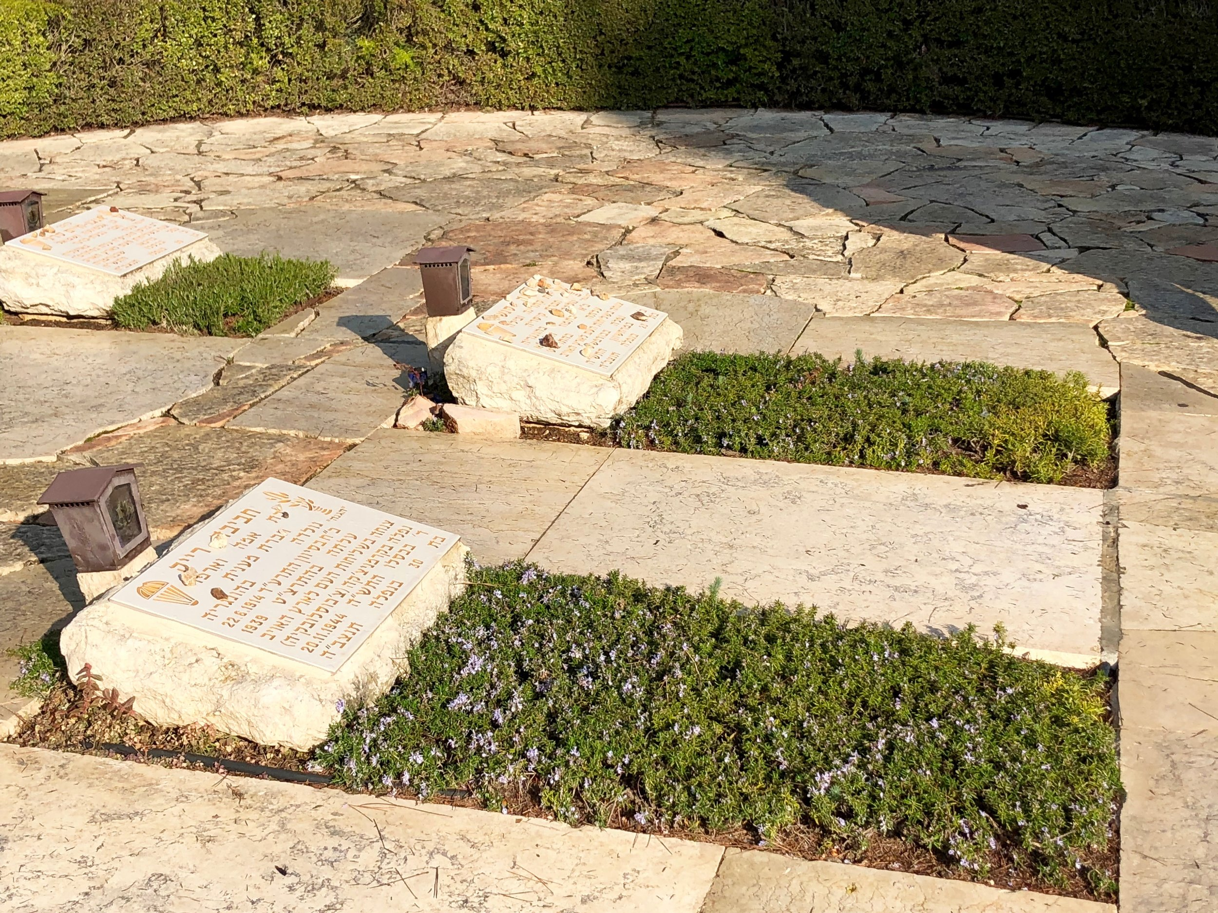 Haviva Reik (foreground) and Hannah Senesh (background) buried next to each other in the Paratrooper's Section at Har Herzl cemetery in Jerusalem. Photo source: Jason Harris