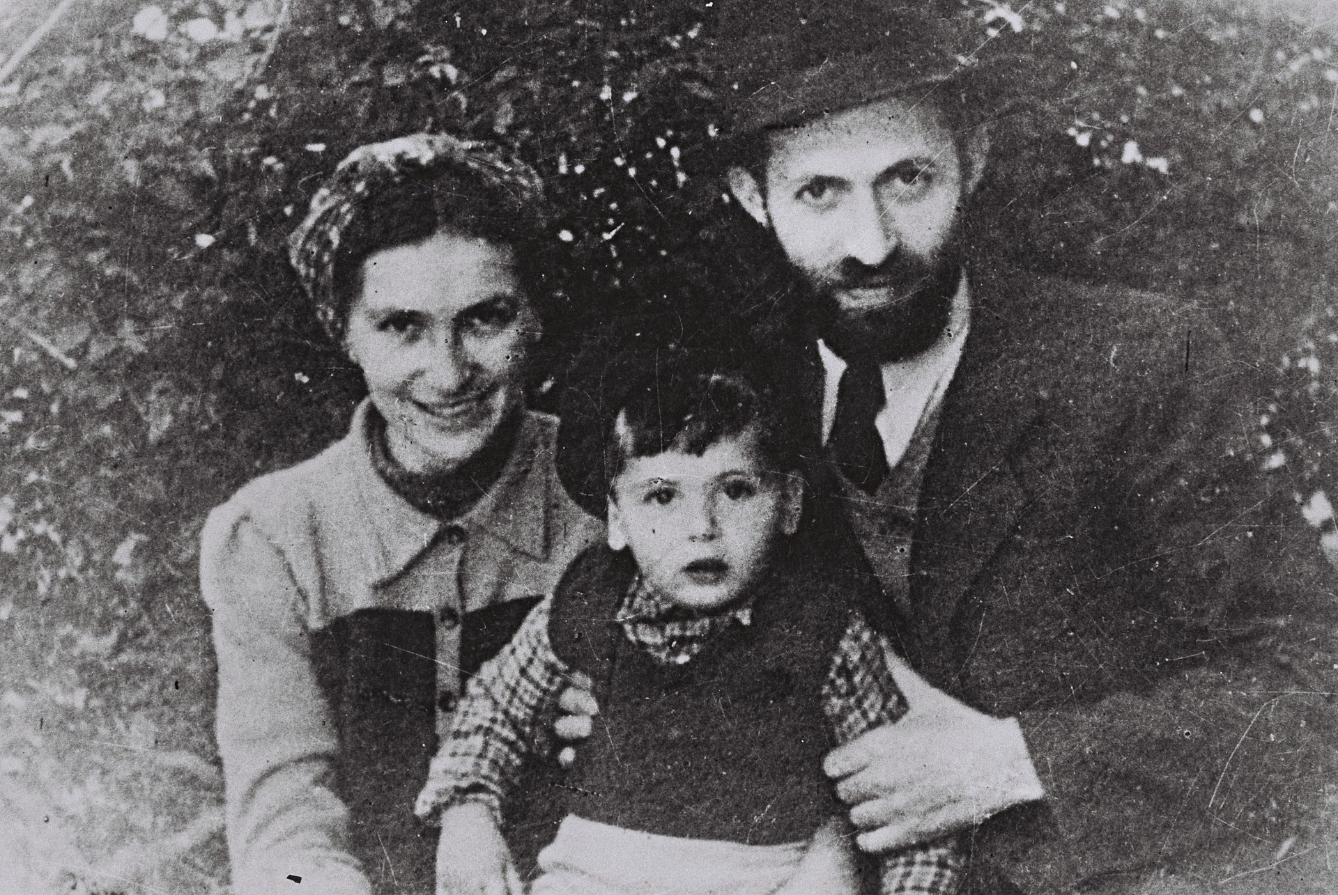 "Menachem Begin disguised as ""Rabbi Sassover"", in hiding with his family from the British. Photo source: Wikipedia"