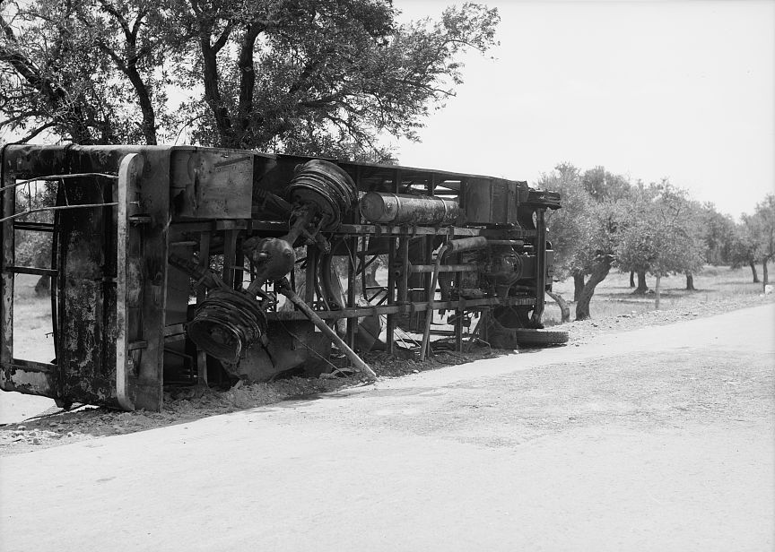 Destroyed Jewish bus near Haifa. Photo source: Wikipedia