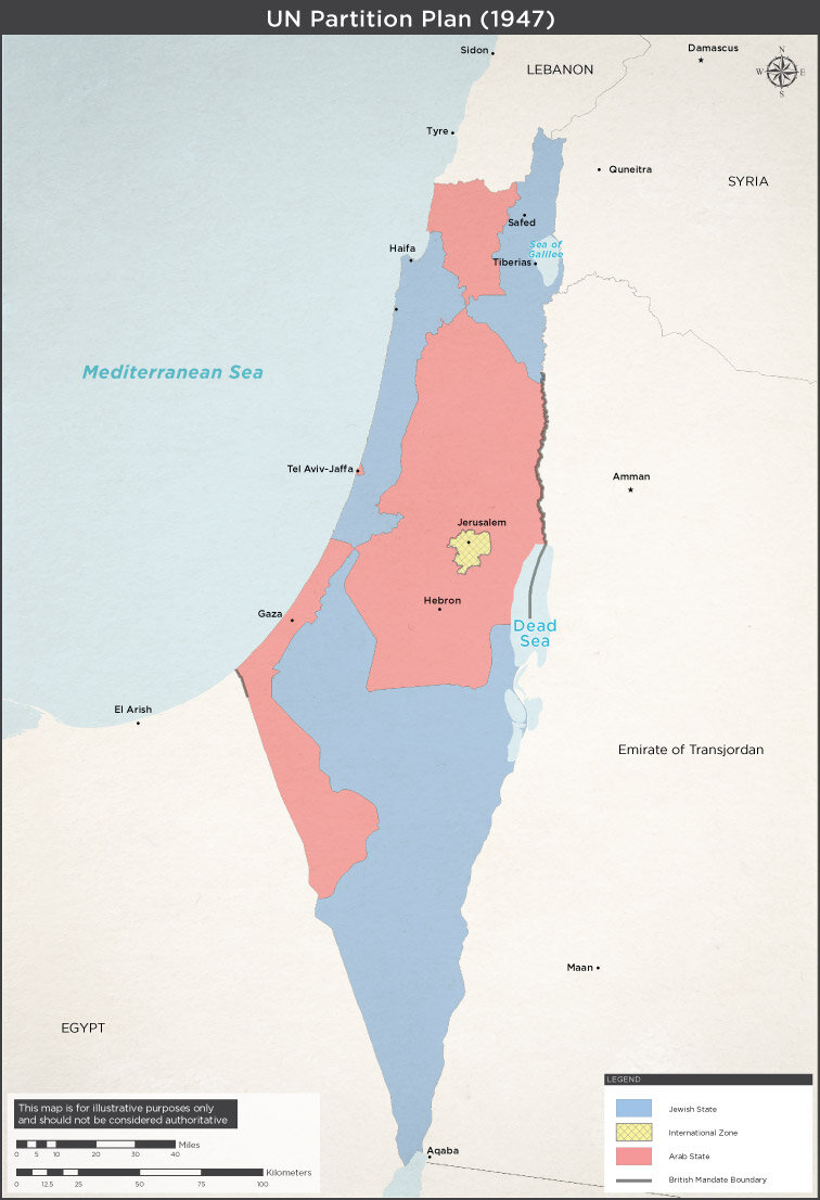UN partition map. Not the small Arab territory around Tel Aviv — Jaffa was to be included as part of the Arab state. Map from the Israeli Ministry of Foreign Affairs.