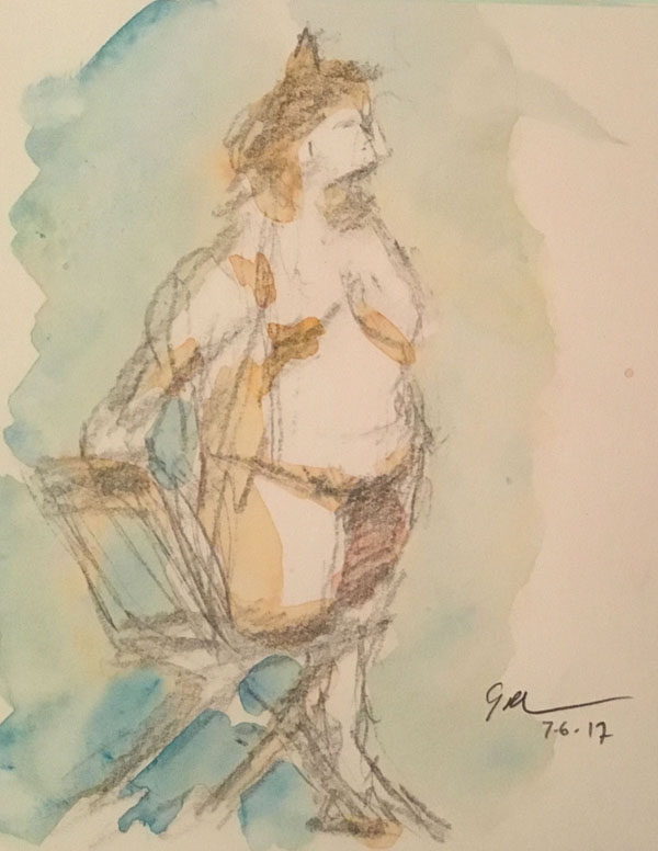 """Nude on chair, watercolor on paper, 6"""" x 6"""", July 6, 2017, at the Art Students League. I tried to capture the rather defiant expression on the model's face."""