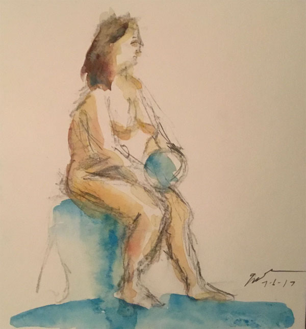 """Nude with globe, watercolor on paper, 6"""" x 6"""", July 6, 2017, at the Art Students League. That's supposed to be drapery on the floor, but I had a bit of a mishap with my blue paint. :)"""