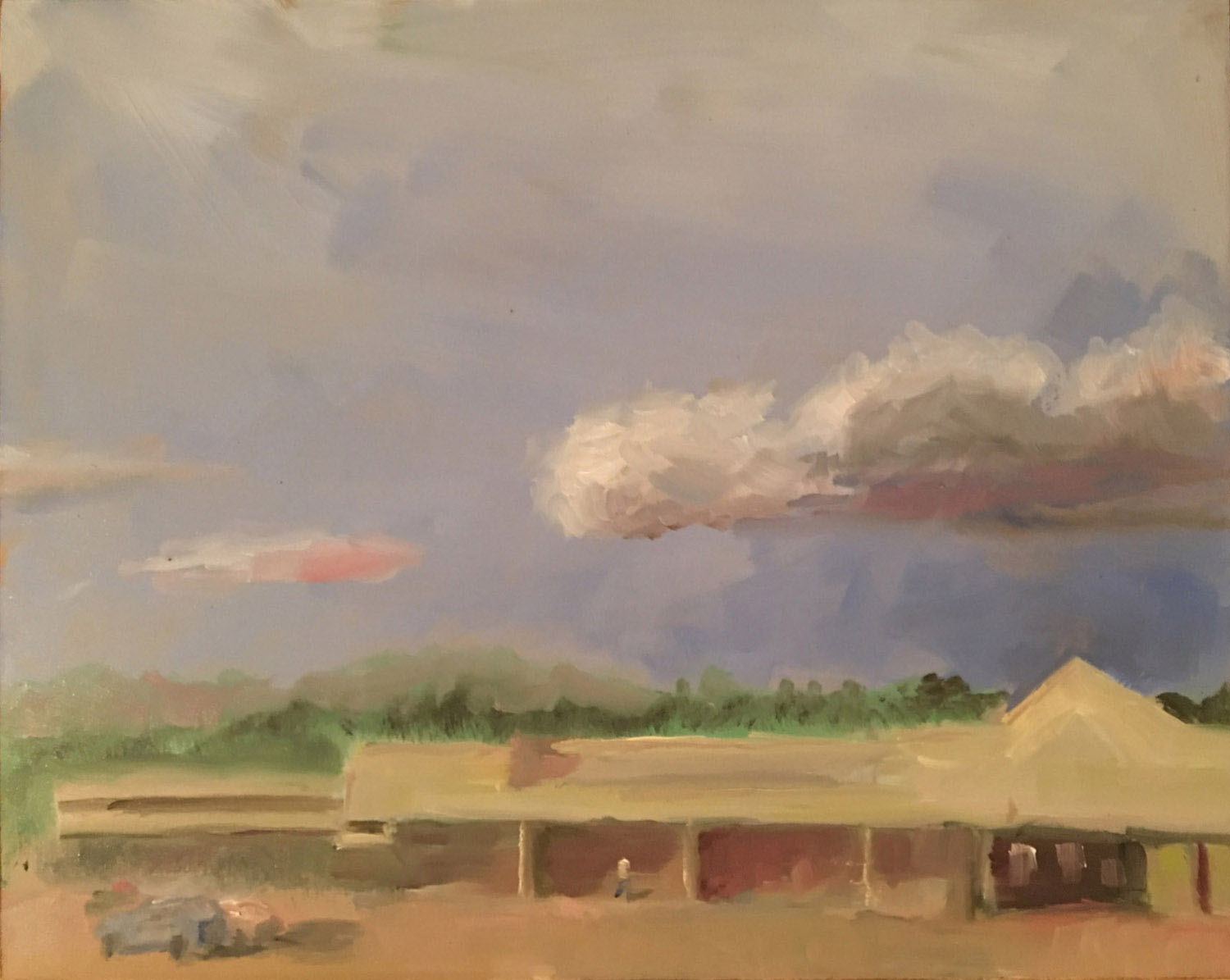 """This is the Westbard Giant and other shops. Supposedly this will all be torn down, and perhaps rebuilt as something snazzier; I'm not sure. Thunderstorms were passing to the north as I painted this last month. Oil on panel, 8"""" x 10""""."""