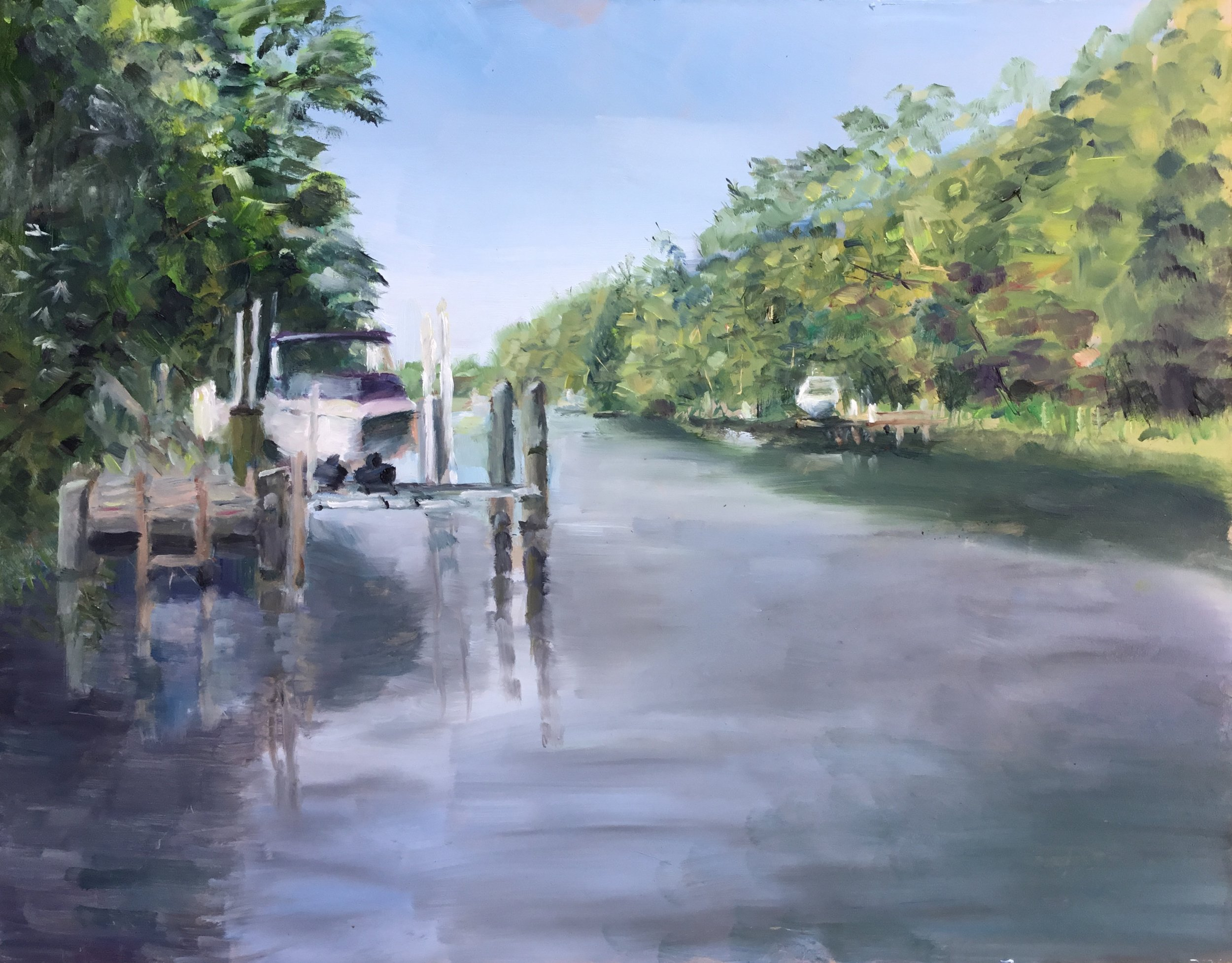 "Geoff Watson, ""Boat on the Rehoboth-Lewes Canal,"" oil on panel, 11"" x 14"", 2017."