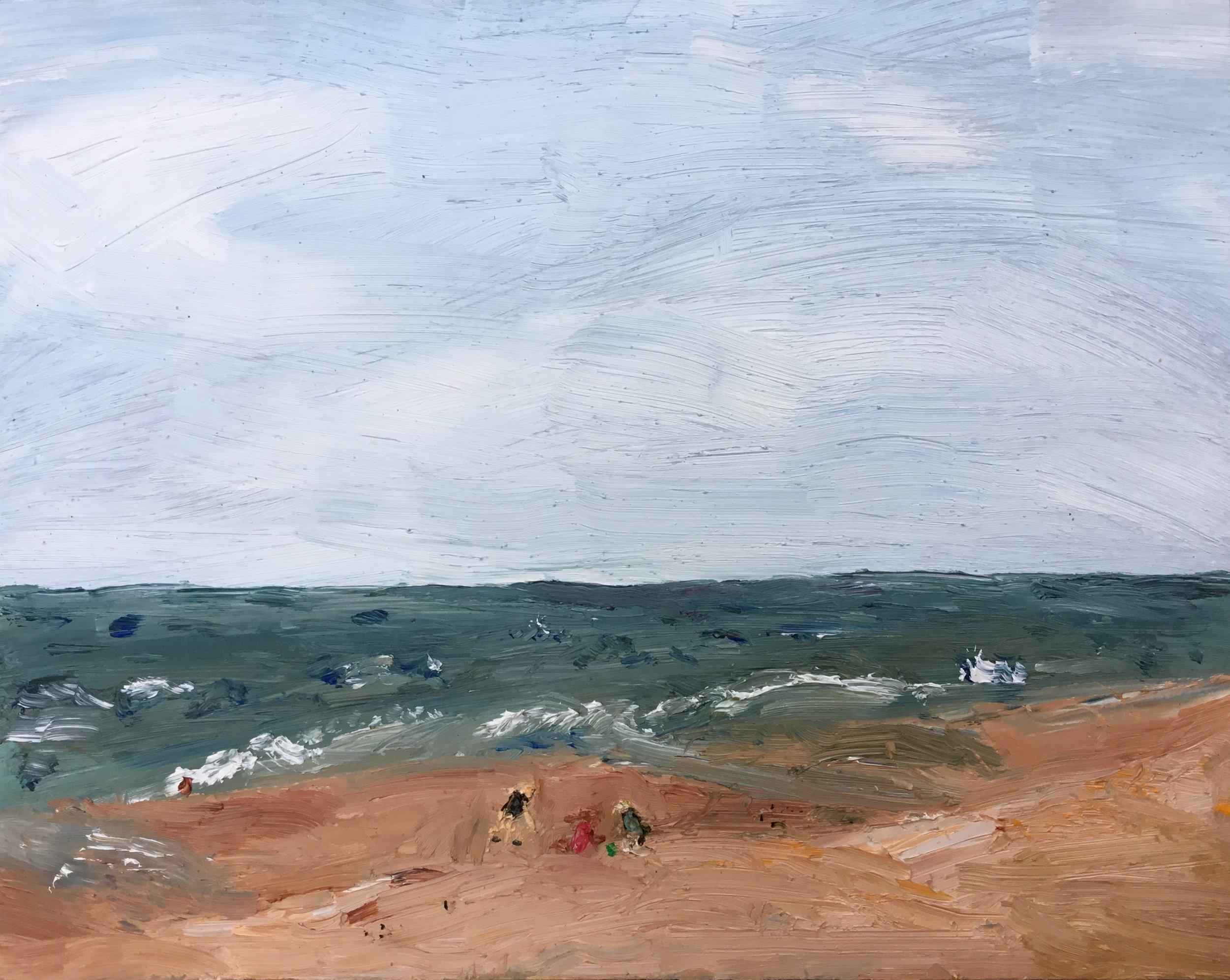 "Maddie Watson, ""Windy beach"", oil on panel, 8"" x 10""."