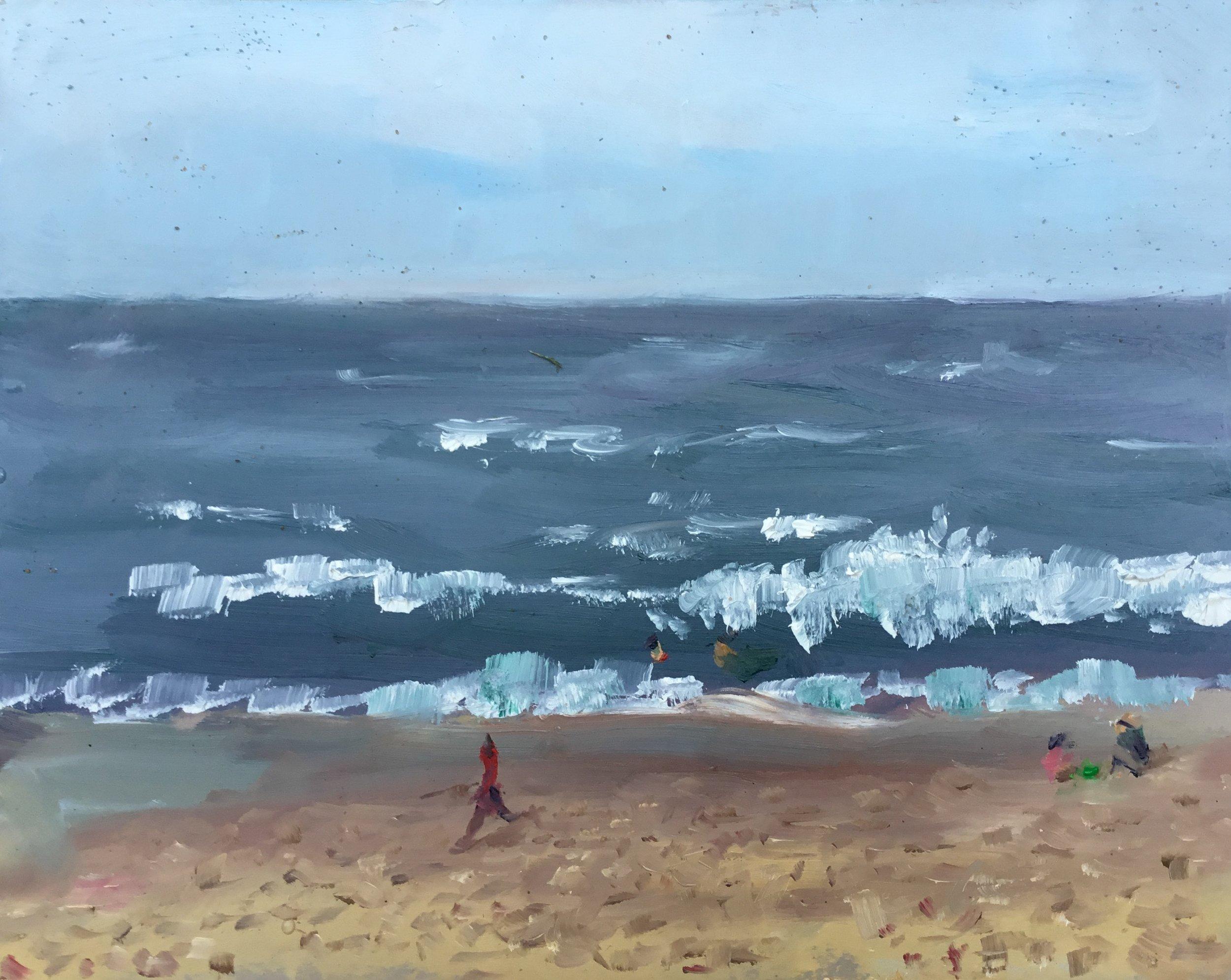 """Geoff Watson, """"Surf at Cape Henlopen,"""" oil on panel, 8"""" x 10""""."""