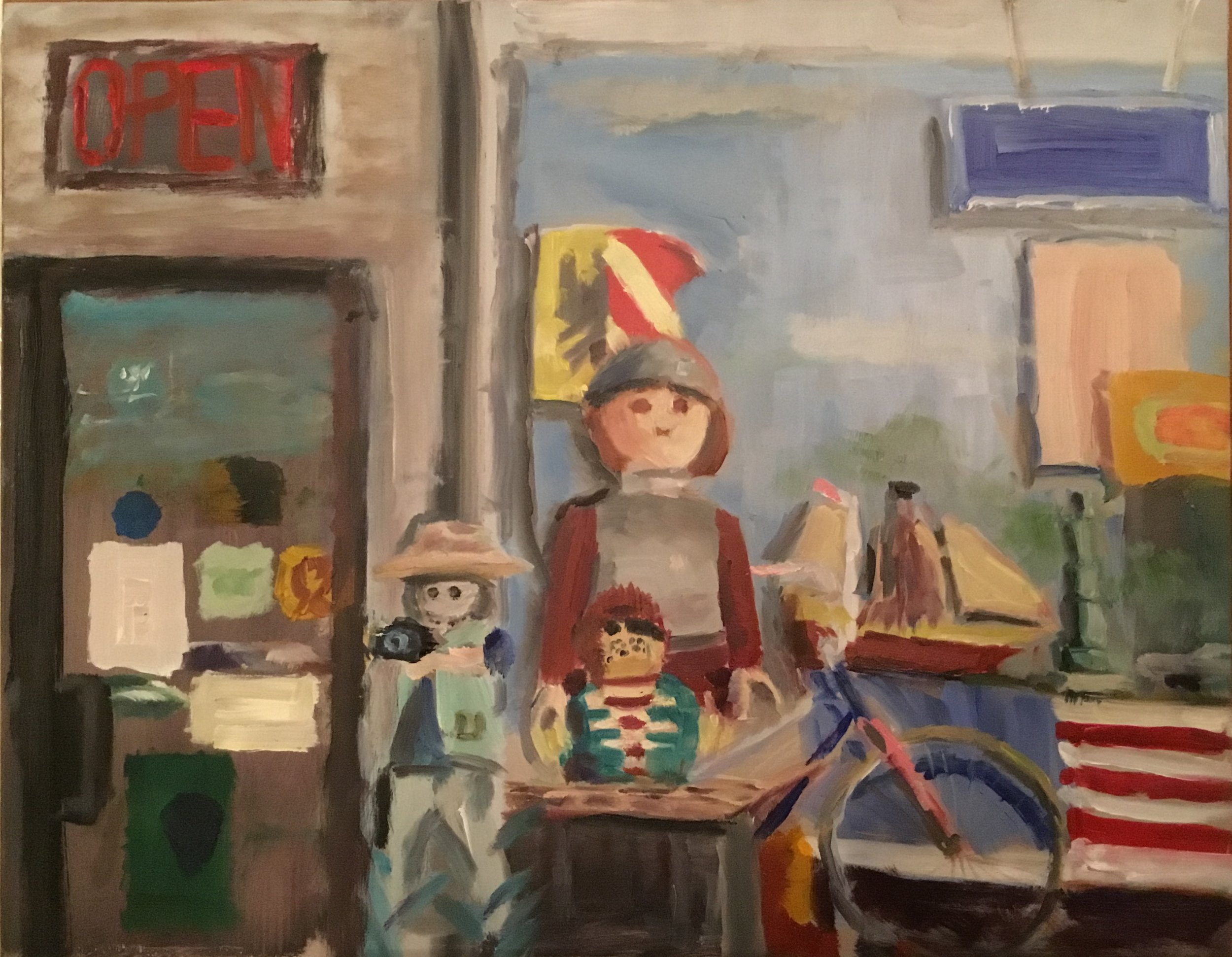 "Geoff Watson, ""Kid's-eye view of Anglo-Dutch Toy Store,"" oil on panel, 11"" x 14"", 2017."