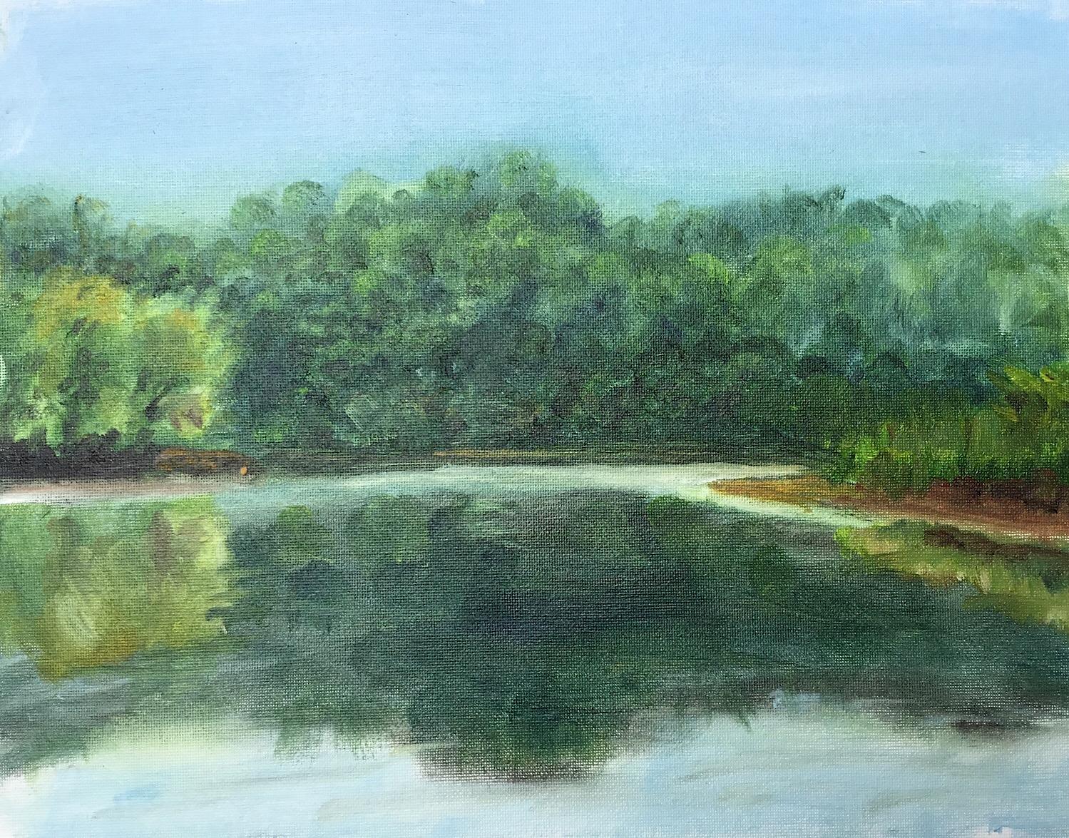 """Geoff Watson, """"Lake Needwood,"""" oil on canvas panel, 11"""" x 14,"""" 2017."""