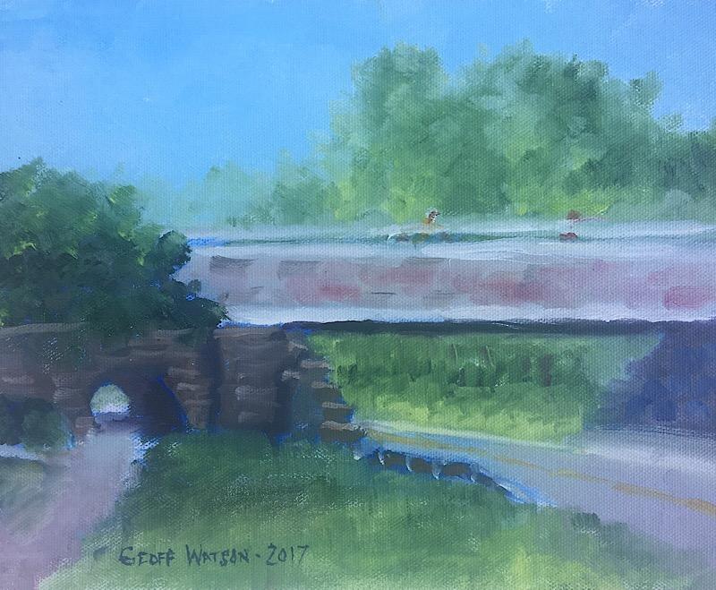 """Geoff Watson, """"Bridge over Massachusetts Avenue,"""" oil on canvas panel, 8"""" x 10,"""" 2017."""