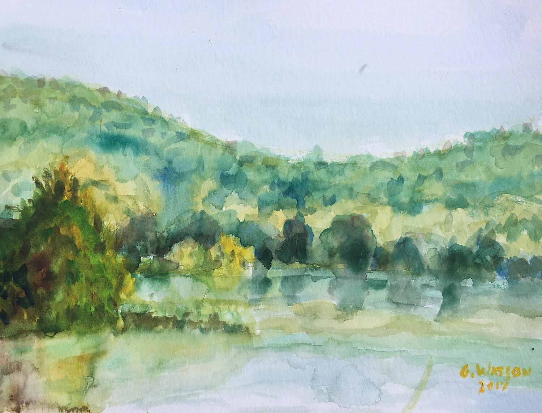 "Geoff Watson, ""River Bend Study,"" watercolor on paper, 12"" x 16,"" 2017."