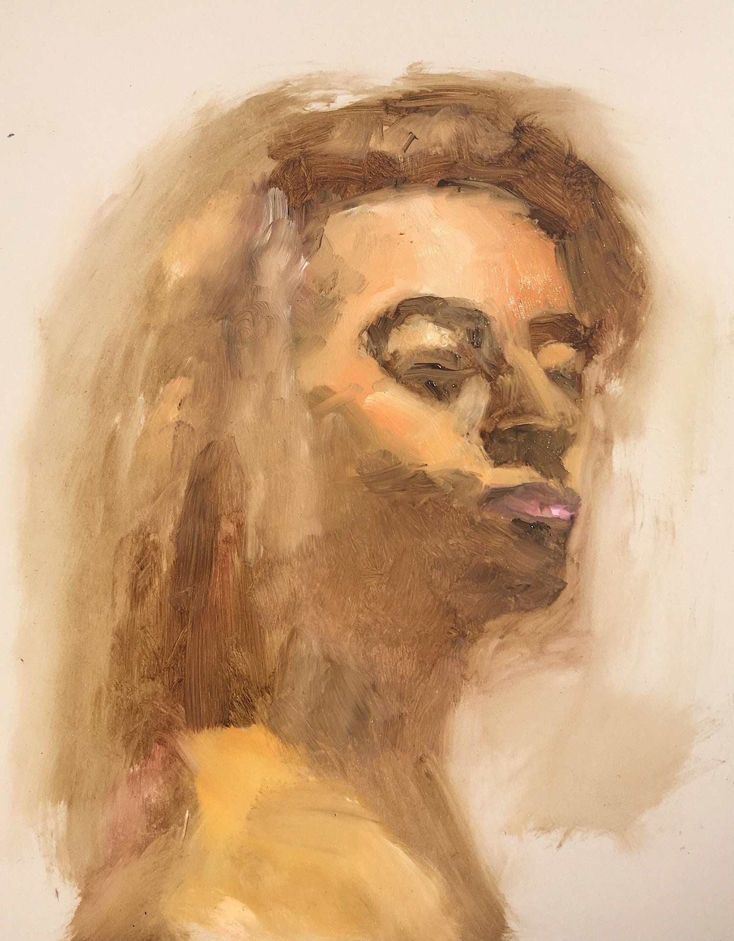 """Geoff Watson, """"Giselle"""" (work in progress), oil on panel, 11"""" x 14,"""" 2017."""