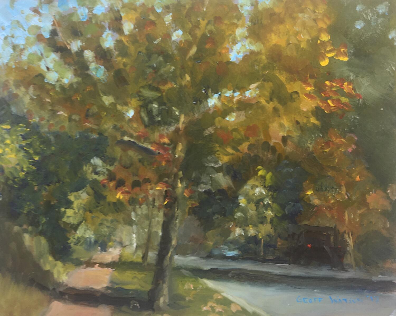 """Geoff Watson, """"Newark Street,"""" oil on panel, 8"""" x 10,"""" 2017."""