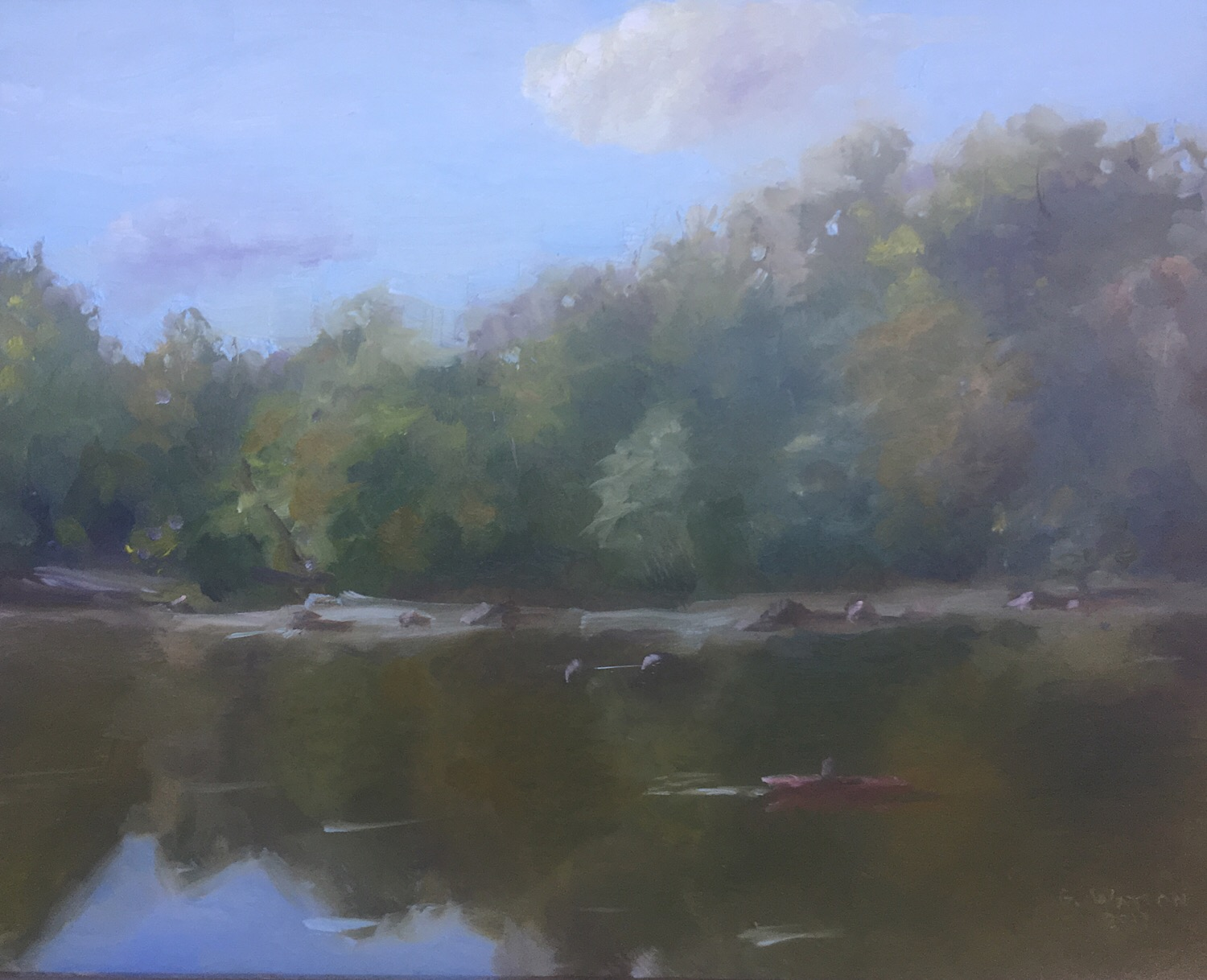 "Geoff Watson, ""On the Potomac,"" oil on panel, 8"" x 10,"" 2017."