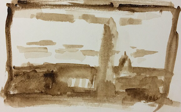 """Geoff Watson, """"Monument thumbnail 2,"""" watercolor on paper, 2"""" x 3,"""" 2017."""