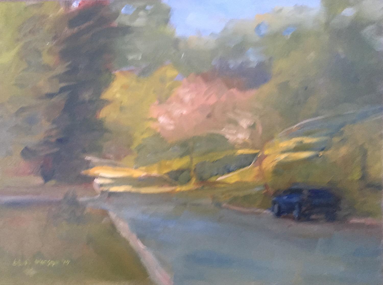 "Geoff Watson, ""Down the Street,"" oil on panel, 9"" x 12,"" 2017."