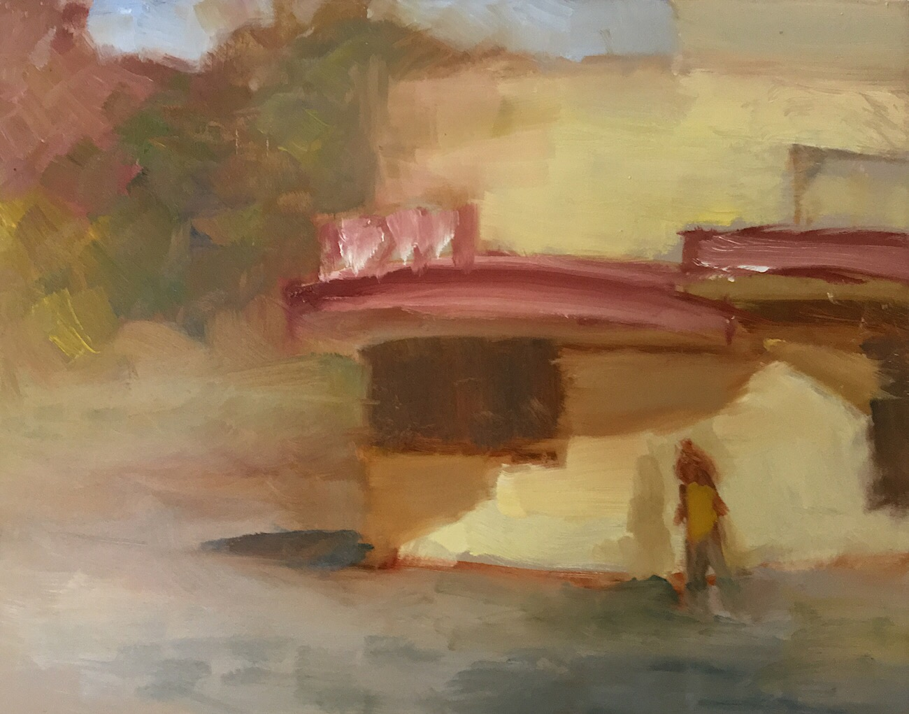 "Geoff Watson, ""Popcorn Gallery,"" oil on panel, 8"" x 10,"" 2017."
