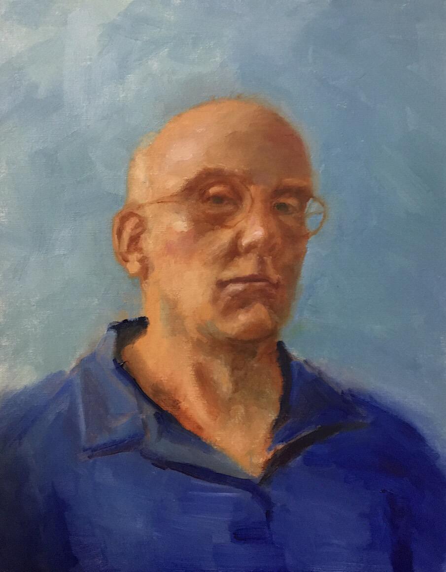 """Geoff Watson, """"Self-portrait,"""" oil on canvas, work in progress, 14"""" x 18,"""" 2017."""