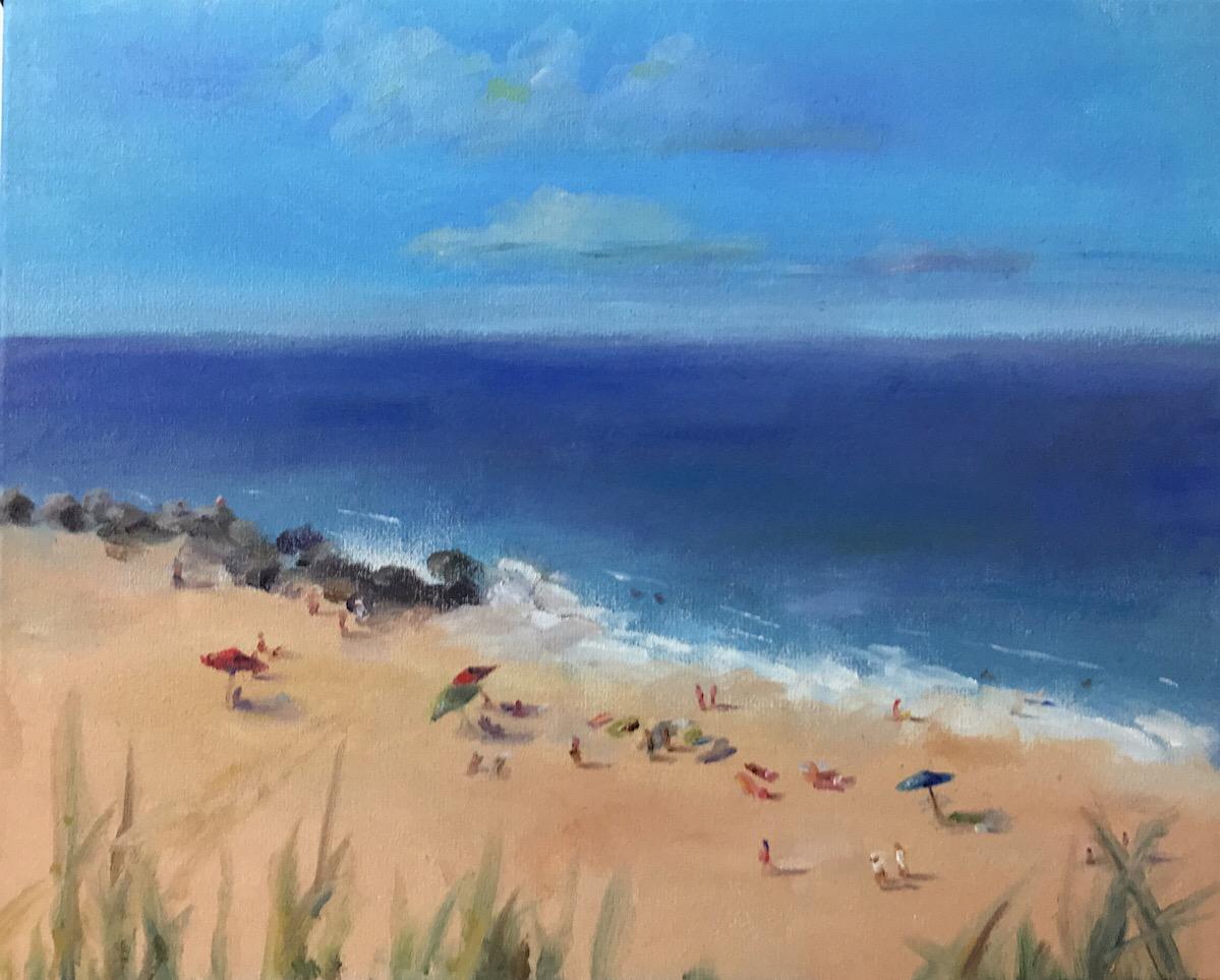 "Geoff Watson, ""Herring Point,"" oil on canvas, work in progress, 16"" x 20,"" 2017."