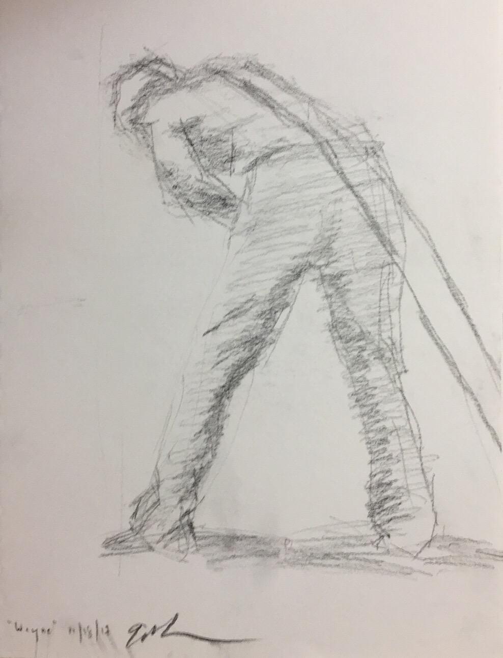 "Geoff Watson, ""Hauling,"" carbon pencil on paper, 9"" x 12,"" 2017."