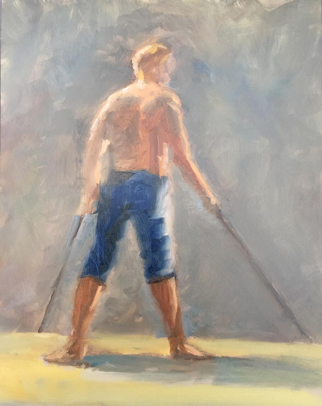 "Geoff Watson, ""Wayne,"" oil on panel, 11"" x 14,"" 2017."