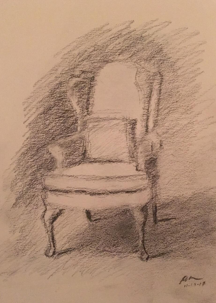 "Geoff Watson, ""Living-room chair,"" graphite on paper, 9"" x 12,"" 2017."