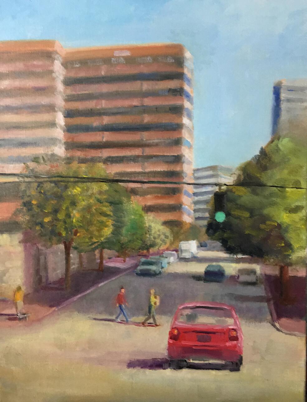 """Geoff Watson, """"Green light,"""" oil on linen, 24"""" x 36,"""" 2017 (in progress)."""