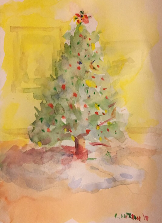 """Geoff Watson, """"Christmas Tree,"""" watercolor sketch on paper, about 4"""" x 6,"""" 2017."""